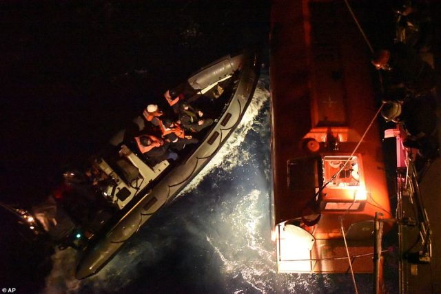 The Royal Navy responded to a mayday from the 28,000-ton merchant ship about 150 miles southwest of Cape Finisterre