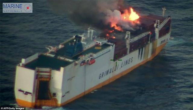 The Italian-registered vessel had been bound for Casablanca from Hamburg when the fire broke out at 8pm on March 10