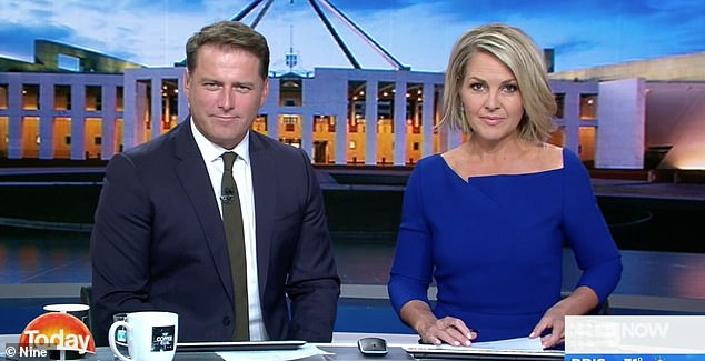 Out: The high-profile axing of Karl Stefanovic (L) saw the line-up change with Deborah Knight and Georgie Gardner (R) taking over from the male host of 14 years. Seen here on set