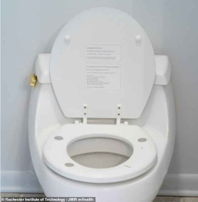 The toilet seat, invented by scientists in New York, fits on top of a normal toilet seat and incorporates sensors to pick up on the user's heart rate and blood pressure