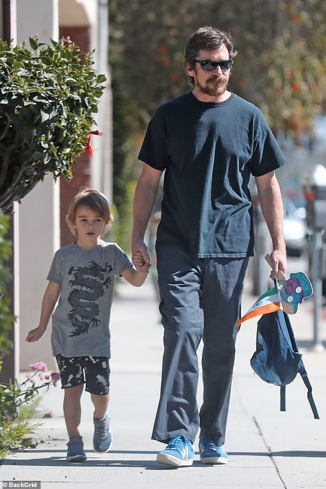 Just the boys!Christian Bale enjoyed some quality father-son time with his four-year-old Joseph on Thursday