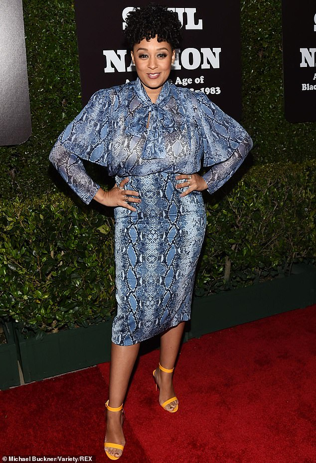 Style showcase: Tia Mowry, 40, was present for the star-studded opening on Friday night of Soul Of A Nation: Art In The Age Of Black Power at Los Angeles' Broad Museum