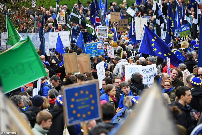 EU supporters, calling on the government to give Britons a vote on the final Brexit deal or reverse Brexit entirely, descend on the capital to protest