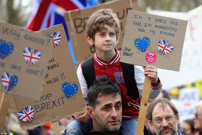 This seven-year-old boy joined in with Saturday's protests and was one of many young people to take part and march towards Parliament