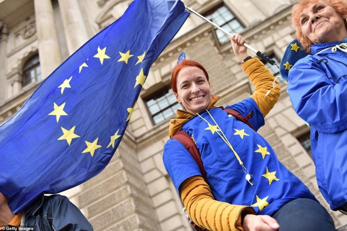 An unnamed protester was pictured wearing a European Union flag on her top and waving a flag during the march