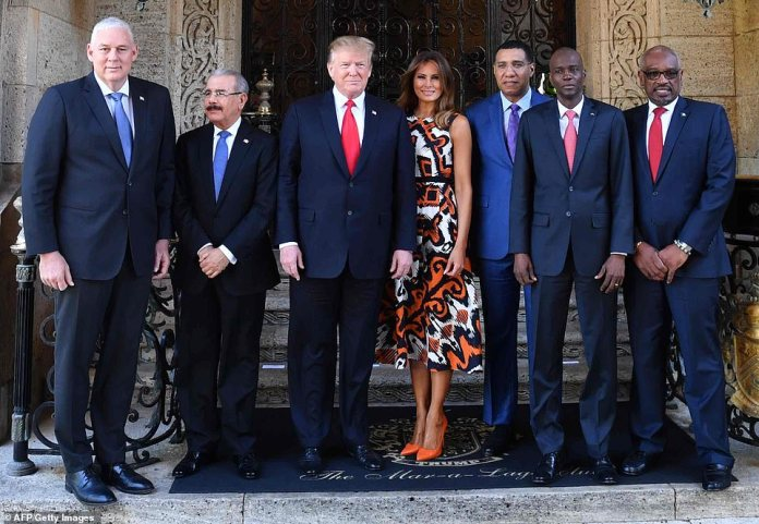 Melania and Donald Trump hosted the Caribbean in Mar-a-Lago, Florida on Friday, a few hours before the report