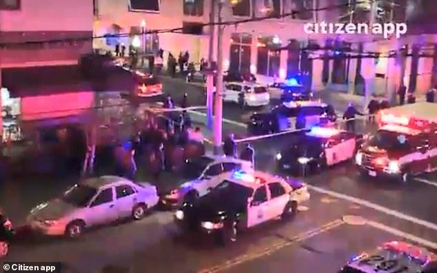Notfallhelfer wurden zu der Szene in der Fillmore Street in der Nähe der Eddy Street gerufen