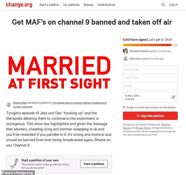 Not happy! A petition tilted 'Get MAFs on channel 9 banned and taken off air,' launched on Change.org, and has gained close to 6000 signatures as of early Monday morning
