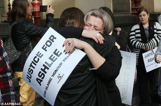 Protesters demanding 'Justice for Ashlee' joined Ashlee Brown's mother Siobhann (centre, holding placard) outside the Victorian Supreme Court as Mohamed Naddaf was sentenced