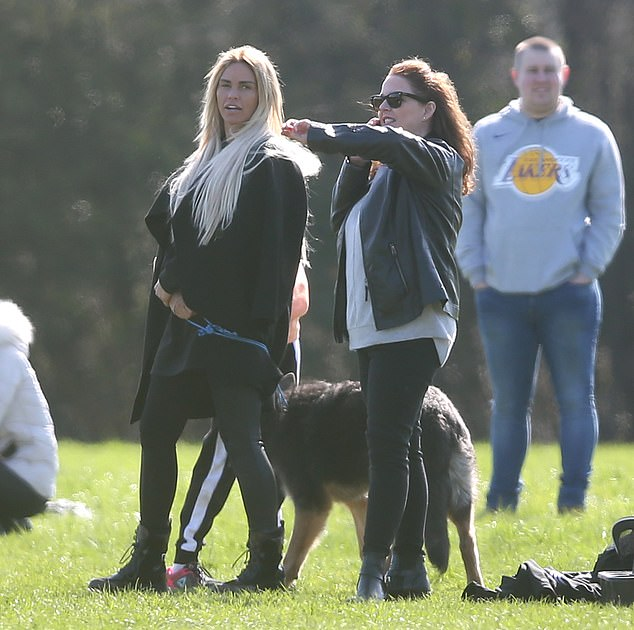 Animal lover: while watching the football game, the five-year-old mother kept the puppy, which she bought for £ 1,000 in November, next to her on a leash