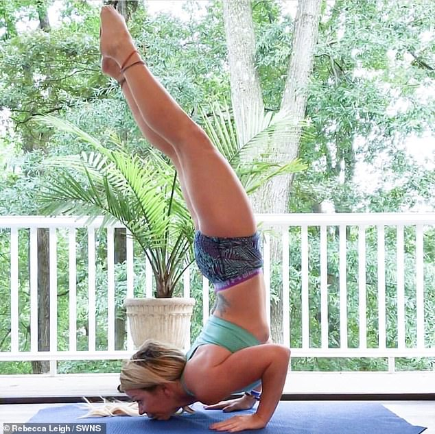 Rebecca Leigh, 40, of Gambrills, Maryland, had been practising a yoga pose when she tore herright carotid artery. She suffered a stroke and took six weeks to heal