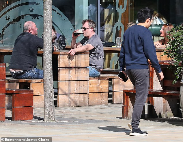 Down the hatch: The show regular was taking a short break from the Coronation Street set just days after he was targeted by thieves while filming scenes for a new armed robbery plot