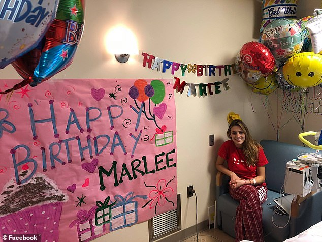 For her eighteenth birthday, Pincus raised more than $20,000 for the Leukemia and Lymphoma Society. Pictured: Pincus in the hospital on her birthday