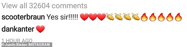 Man with the plan: His longtime manager replied with several emojis including hearts, applause, and fire