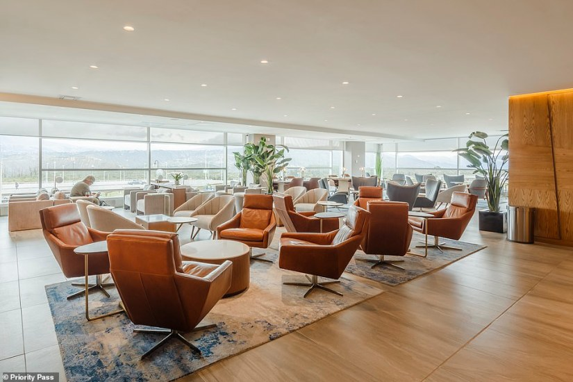 The recently expanded lounge has panoramic views that look out across the city of Quito