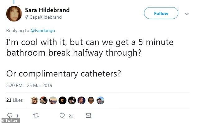 Intermission: One Twitter user brought about the idea of a bathroom break during the movie