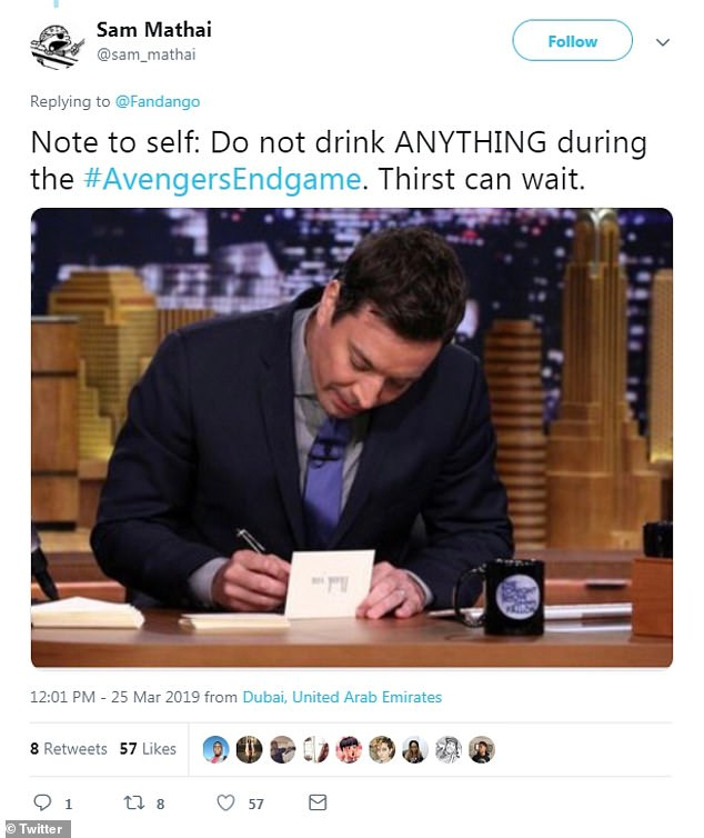 'Thirst can wait': Twitter user Sam Mathai shared a few wise words with a photo of Jimmy Fallon writing some sentiments