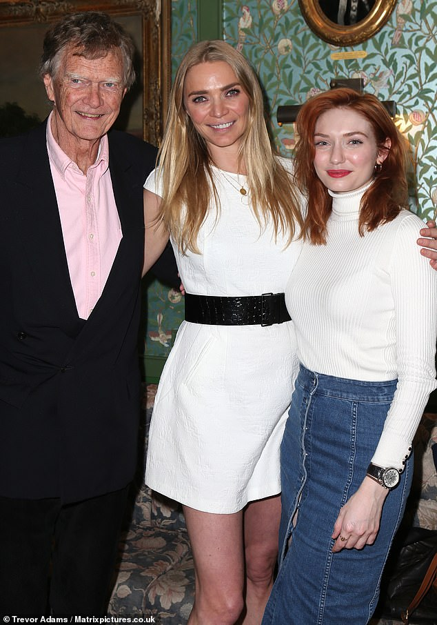 Three's company: Jodie's father John Kidd joined his model daughter and actress Eleanor for a photo
