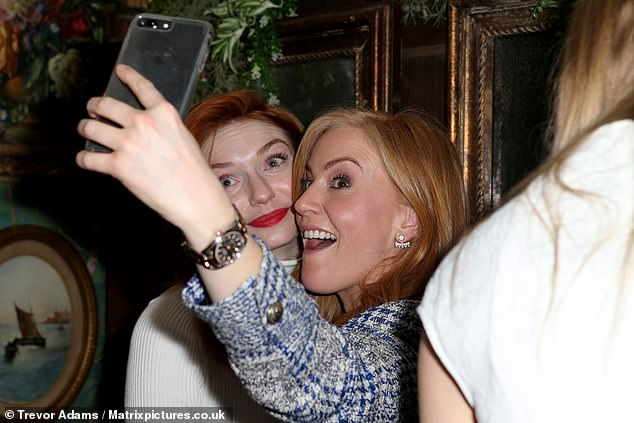 Smile Eleanor! The Poldark actress posed for numerous photos throughout the night, including this one with Sarah-Jane