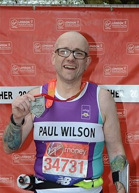 Paul Wilson (pictured) was hospitalised 48 times after missing out on his yearly inhaler reviews. After finally seeing an asthma nurse, he got his condition under control and is pictured after runningthe London Marathon for Asthma UK last year
