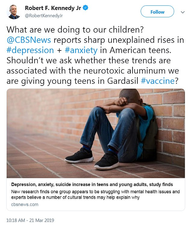 In a bizarre response to data on the rise of teen depression and anxiety in the US, Robert F Kennedy Jr called on scientists to investigate the HPV vaccine as the cause of mental illness - despite next to no scientific evidence to suggest it could cause mood disorders