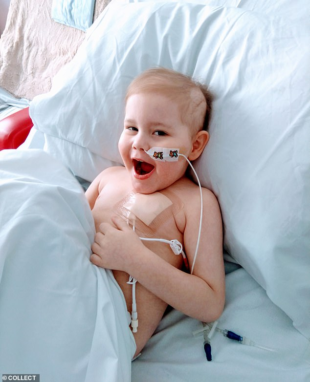 Oscar Saxelby-Lee - who won the nation's heart in his battle against a rare cancer - has found a stem cell match after a record-breaking 10,000 donors came forward. The youngster is pictured at Birmingham Children's Hospital, where he is having chemotherapy