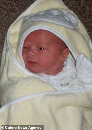 Annabelle, now nine, is pictured when she was born