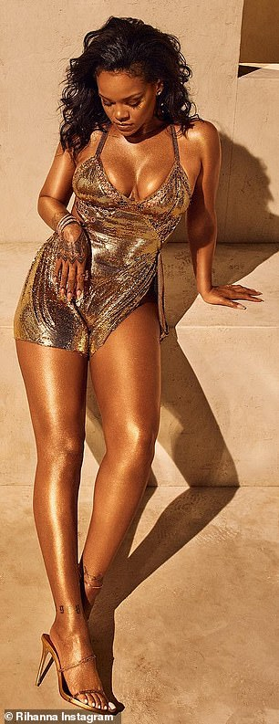 Golden girl: Last week Rihanna looked stunning in gold