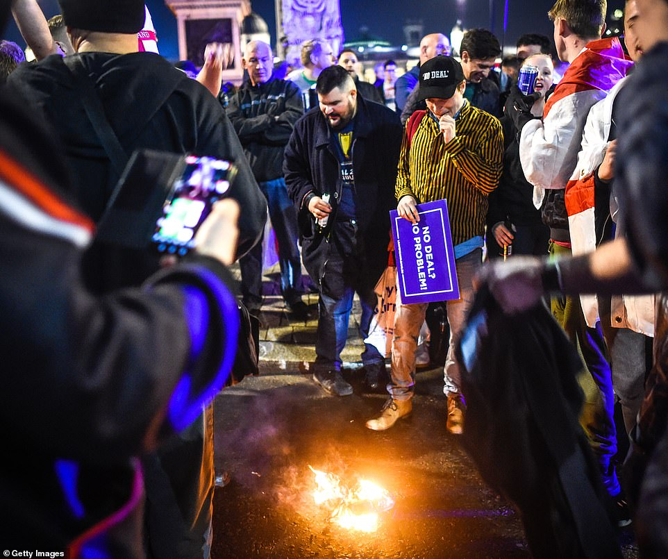 Election Protesters Burning Flag Over