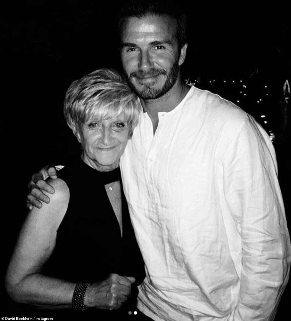 Happy Mother's Day: David also shared a photo of him with his mum Sandraand wrote: 'Happy Mother's Day to 2 of the best mums in the world ... Two women that lead by example and love with everything they have'