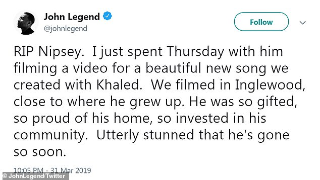 Perplexed: All Of Me singer John Legend wrote: & # 39; RIP Nipsey. I just shot a video with him on Thursday for a nice new song we made with Khaled & # 39 ;.