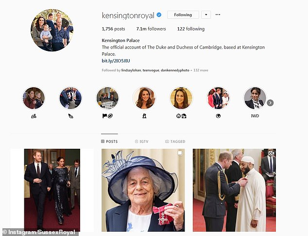 At the same time the Kensington Palace Instagram account, which was previously used by both the Cambridges and the Sussexes, was updated to remove Harry and Meghan's name from the description. They also changed the profile picture to one of the Cambridges