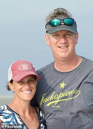 Cardiologists blame rising rates of hypertension and diabetes and added stress as women balance work and home life. Pictured: Calhoun, left, with her husband
