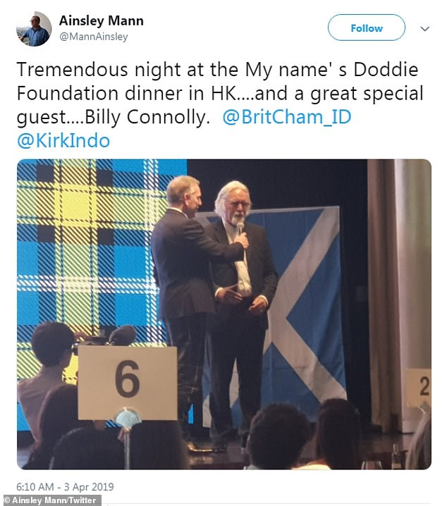 One of the dinner guests commented: 'Billy was in great spirits and very happy to be there. He and Doddie has a great chat and Billy entertained guests with his answers during the Q&A'