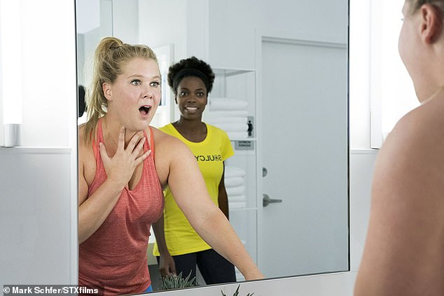 In the film I Feel Pretty, Amy Schumer (left) plays on stigma around body weight. Her character sees herself as beautiful, in spite of not having a body like her fitness instructor - who is skeptical of Schumer's confidence. A new study found that slim people tend to see overweight people as 'less human' than others