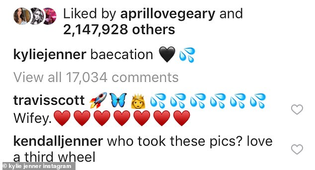 Sister act:Her sister Kendall also got in the comment sections by joking: 'who took these pics? love a third wheel'. Kylie quickly responded: 'self timer baby'