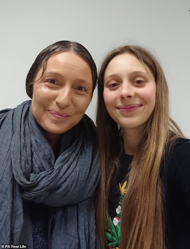 After researching herself, Miss Gamber was eventually diagnosed with variations of vascular compression syndrome in November 2017. Pictured, with her mother Anette, 47