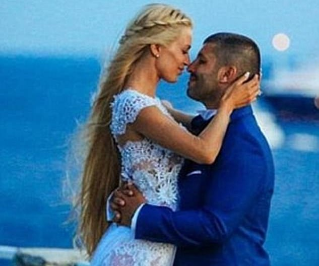 John Macris and Ms Karayda at their 2016 wedding on the Greek island of Mykonos