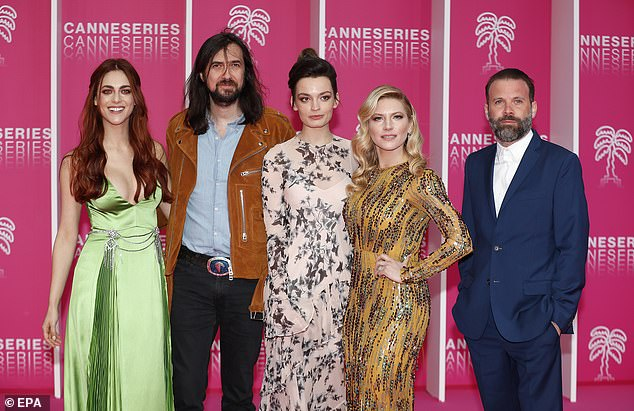 Meet the judges: Emma (centre) posed for a photo with fellow jurors (left to right) Italian actress Miriam Leone, French musician Rob, Canadian actress Katheryn Winnick and Swiss director Baran bo Odar