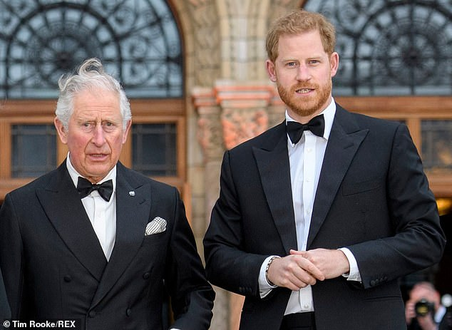 Embarrassing: Prince Harry is said to have avoided an unpleasant invasion of ex-Camilla Thurlow and Ellie Goulding at Our Planet's screening on Thursday, reports The Sun (above with Father Prince Charles).
