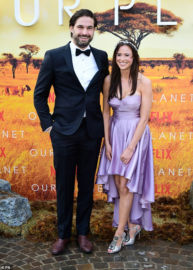 Happy couple: She is now happy with her lovely Icelandic boy Jamie Jewitt, 28, with whom she attended the event