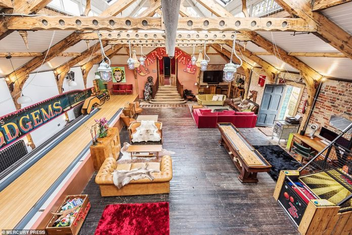 The incredible living space within the historic home in St Leonards with a play area and beautiful exposed beams