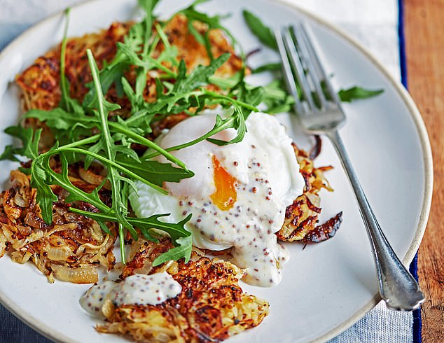 Parsnip rosti with a poached egg and mustard sauce: 302 calories per serving