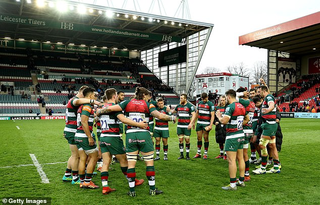 Welford Road was practically empty as Leicester's players held a post-match meeting