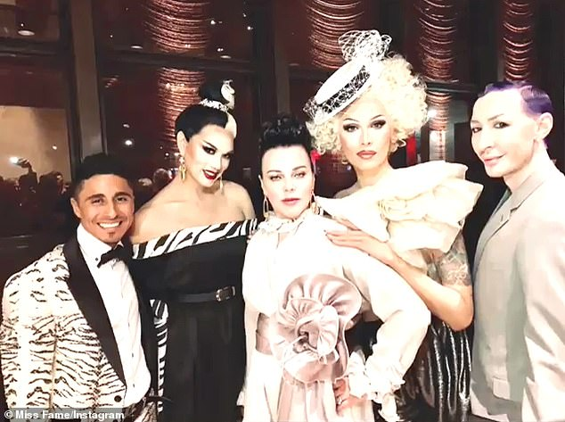Yasss! The RuPaul's Drag Race All Stars guest judge drew the likes of All-Star Manila Luzon (2-L), his husband Michael Alvarezas (L), season seven's Miss Fame (2-R), season five's Detox (R), as well as Younger actress Debi Mazar (M)