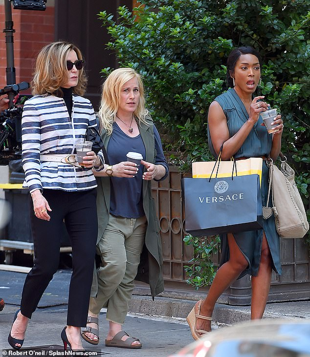 Three Amigas: Netflix will not release the Felicity Huffman comedy Otherhood this month, which features Patricia Arquette and Angela Bassett (above at Otherhood in the summer of 2018).
