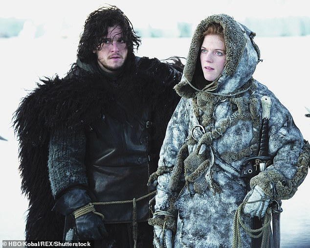 Fear: Appearing on The Jonathan Ross show in 2017, Kit shared a clip of the terrified actress screaming and collapsing in fear (Pictured, Kit and Rose in Game of Thrones)