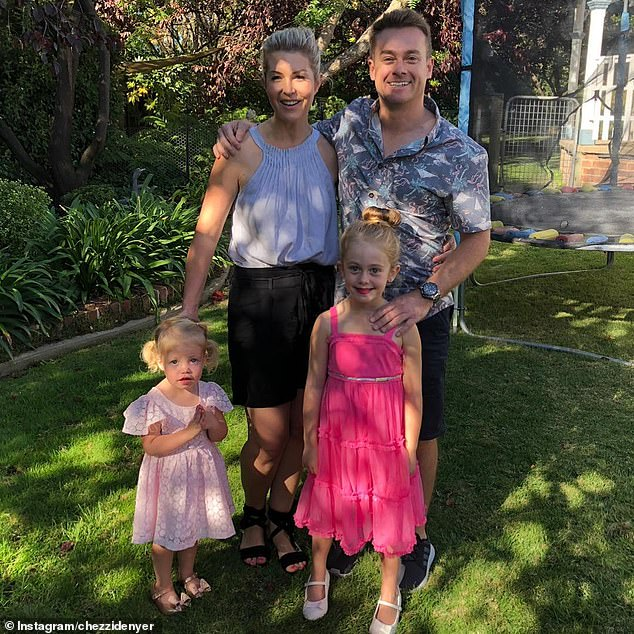Health battle: Grant stepped away from his duties at 2Day FM and Dancing With The Stars while recovering in hospital after tearing his L1 disc during a DIY renovations accident at home in early March. Pictured from left: Scout, Chezzi, Sailor and Grant Denyer