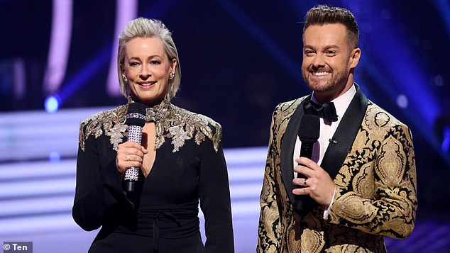 'It's like handing your partner over for someone to have a turn with': On Wednesday, Grant Denyer revealed how hard it is to miss his TV and radio hosting gigs while he recovers from a severe back injury which recently saw him hospitalised. Pictured with Dancing With The Stars' Amanda Keller