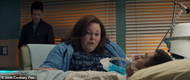 The incredible story has been turned into a blockbuster movie Breakthrough starting Chrissy Metz as Joyce. Pictured: Joyce, played by Metz, by John's beside in the hospital
